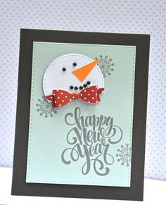 Use our Stitched Circle dies to make a snowman card.  Easy! Stamps and dies by A Muse Studio.