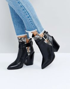 Buy Black Raid Heeled boots for woman at best price. Compare Boots prices from online stores like Asos - Wossel Global Black High Heels, Black Ankle Boots, Ankle Booties, Leather Booties, Asos, Trendy Shoes, Cute Shoes, Latest Fashion Clothes, Fashion Shoes