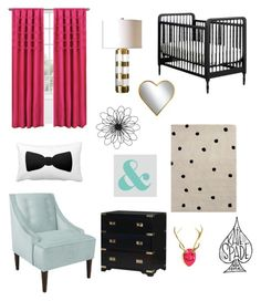 """""""Ks nursery"""" by hellogorgjess on Polyvore featuring interior, interiors, interior design, home, home decor, interior decorating, Kate Spade, Eclipse, Skyline and Universal Lighting and Decor"""