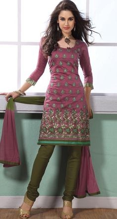 Pink Thread Work Cotton Churidar Salwar Kameez  23689