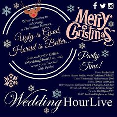 Party Time... Wedding Suppliers Venues & Wedding Media & Professionals: who fancies attending the BEST Christmas Party ever? Who's ready to don the most hideous of Christmas Jumpers you can get your hands on?  Here's your Personal Invitation to join us for #WeddingHourLive on Wednesday 7th December... at the stunning Rudby Hall North Yorkshire! Get those tickets booked and come and have fun girls and boys its time to Party!  Book TICKETS here:- http://ift.tt/2fNrjuN