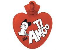 """HELLO SPANK BORSA ACQUA CALDA TI AMOO  Per riscaldare il tuo cuore Borsa dell'acqua calda Hello Spank love in plastica di colore rosso con dedica """"TI AMOO."""""""
