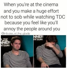 Yeah me and my really good friend saw it together opening night, and when-erm-the inevitable happened to Newt, we were literally sobbing uncontrollably and people were staring at us like we were absolutely insane Maze Runner Trilogy, Maze Runner Cast, Maze Runner Series, Maze Runner Funny, Maze Runner Thomas, Dylan O'brien, Teen Wolf, The Scorch Trials, All The Bright Places