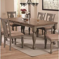 Coaster Riverbend Two-Tone Table with Leaf in Antique Gray Finish - Coaster Fine Furniture