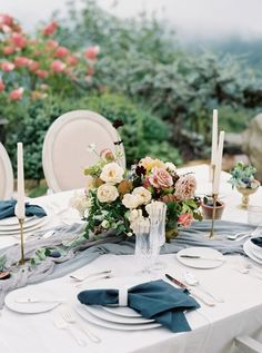 Autumn inspired wedding table linens and florals: http://www.stylemepretty.com/2016/10/14/fall-wedding-inspiration/ Photography: Simply Sarah - http://simplysarah.me/