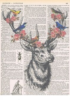 Deerbirds.Collage.Fantasy. Antique Book Pages by studioflowerpower