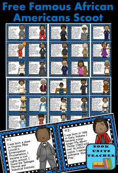 Black History Month Scoot includes 30 cards with a brief description of famous African Americans. Students are given a Student Recording Sheet which includes a bank of names to help identify the famous Americans in a game of Scoot. Famous African Americans, Famous Black Americans, African American History Month, African History, Black History Month Activities, History Posters, History Classroom, Black History Facts, History Projects