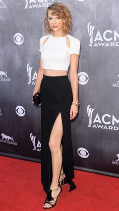 At the Academy of Country Music Awards on April 6th, Taylor Swift embraced two bold trends with one look: A cut-out crop top and a thigh-high slit skirt, both by J. Mendel.