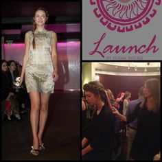 """Our """"Lillian"""" dress coming down the runway during Boston Fashion Week.  Backstage prep is always fun!"""