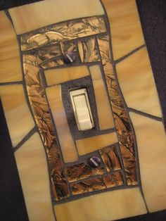 Stained Glass Mosaic Switch Plate Cover - Tan and Bronze