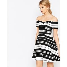 Oasis Textured Stripe Bardot Dress ( 79) ❤ liked on Polyvore featuring  dresses afaed379b