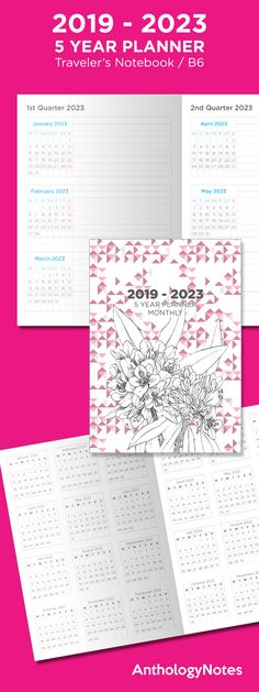 b6 travelers notebook 5 year planner 2019 2023 printable insert ruled horizontal