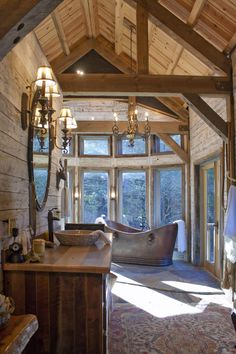 """stylish-homes: """" Rustic Bathroom w/ Vaulted Ceilings + Natural, Reclaimed Materials Keep reading """""""