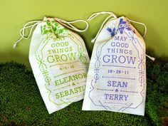 Favors... Small burlap bag stamped with our message and filled with sunflower seeds for planting next summer... These could be hung with clothespins waiting to be taken home!