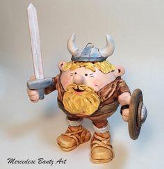 Custom order Viking figurine.  Polymer clay over glass by MBantzArt.