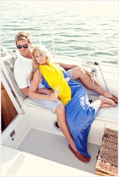 Photo by Evoke Photography. We LOVE this nautical, very Ralph Lauren-esque engagement pic!