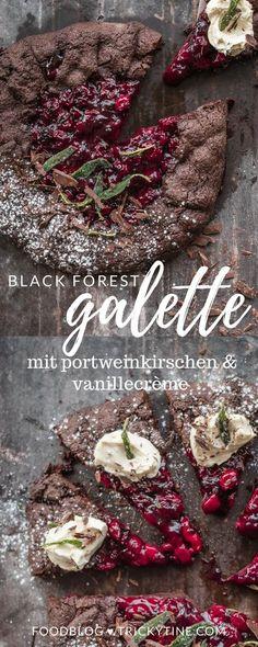 black forest galette mit schokoladenmürbteig, portweinkirschen, vanillecrème und frittiertem und gezuckerten salbei ♥ trickytine.com #food #blogger #baking #blackforest #foodstyling #photography