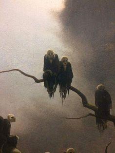 Franz Sedlacek - Ghosts on a Tree - 1933 kunst, Color & Light Fantasy Kunst, Dark Fantasy Art, Arte Horror, Horror Art, Arte Obscura, Images Gif, Macabre Art, Creepy Art, Gothic Art