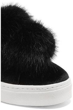 Sam Edelman - Leya Faux Fur-embellished Velvet Slip-on Sneakers - Black - US10.5