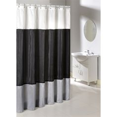 Poly Silk Color Block Shower Curtain - Overstock™ Shopping - Great Deals on Shower Curtains