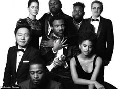 Solemn:The cast of Atlanta, which won for Best Television series - Musical or Comedy, pos...