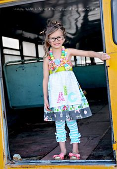 First Day of Kindergarten outfit!  Custom Aqua Fresh Ruffle leggings or by LavenderBirdCreation, $26.00