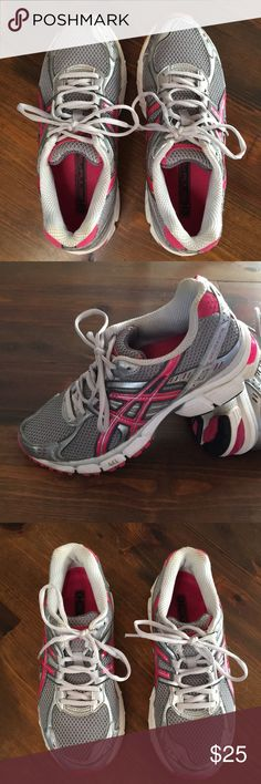 ASICS Gel Plus 3 In excellent preloved condition! Asics Gel Plus 3 in a gray with a pop of hot pink color. Minimal to no tread wear. Great running/workout shoes with incredible ankle support. Size ladies 7. Asics Shoes Athletic Shoes