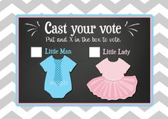 Gender Reveal Voting Cards Printable - Little Man or Little Lady - Ties or Tutus Collection on Etsy, $7.00