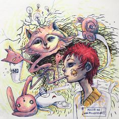 """""""Self-Sabotage"""", a pen sketch coloured using Copic markers.   #popsurrealism #art #drawing #sketch #surreal"""