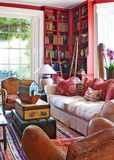 Family-Friendly English Country House - Traditional Home- Library Cool. English Country House, Decor, Red Bookcase, Interior Design, House Interior, Interior, Family Room, Traditional House, Home Decor