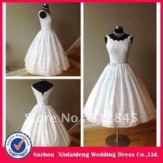 YW-12061467 Classic 1950's Vintage Tea Length Cotton Wedding Dress on AliExpress.com. 30% off $139.30