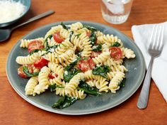 Fusilli with Spinach and Asiago Cheese Recipe : Giada De Laurentiis : Food Network - FoodNetwork.com