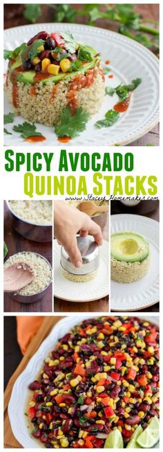 A spicy avocado quinoa stack is simple to make, and can be a quick healthy dinner or fancy appetizer that will impress your guests. Vegetarian, dairy-free, and gluten-free. Change honey to agave nectar for vegan. Veggie Recipes, Whole Food Recipes, Vegetarian Recipes, Healthy Recipes, Quinoa Dinner Recipes, Kalbasa Recipes, Fancy Recipes, Paleo Dinner, Quick Healthy Meals