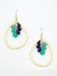 Gorgeous, deep colors.  Wendy Mink Green Onyx & Lapis Teardrop Earrings