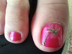 Palm Tree by jennBowernails from Nail Art Gallery Toe Nail Designs, Nail Polish Designs, Pink Toes, Painted Toes, Nails For Kids, Pretty Nails, Pretty Toes, Cute Toes, Toe Nail Art