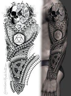 Geometric Tattoo Pattern, Geometric Tattoos Men, Geometric Sleeve Tattoo, Skull Sleeve Tattoos, Tribal Arm Tattoos, Forarm Tattoos, Full Sleeve Tattoo Design, Best Sleeve Tattoos, Arm Tattoos For Guys