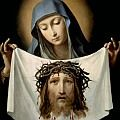 St. Veronica.  A woman holding the cloth she used to wipe the face of Jesus on His way to Calvary (the imprint of His face is often shown on the cloth).