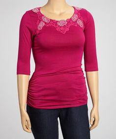 Simply Irresistible Maroon Floral Lace-Trim Three-Quarter Sleeve Top - Plus by Simply Irresistible #zulily #zulilyfinds