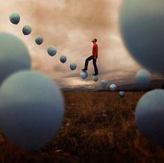 ♂ Dream Imagination Surrealism Surreal Photography by Joel Robinson man in red step to sky