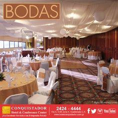 En Hotel Conquistador & Conference Center tenemos el Salón ideal para tu Boda, nuestro servicio de primera hace que tu evento sea inolvidable, llámanos y pregunta por nuestros paquetes, con gusto te daremos información. PBX 2424-4444