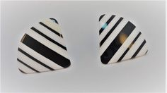 80s Black/White laminated striped Lucite stud earrings by LoukiesWorld on Etsy