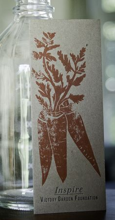 carrot bookmark / letterpress + lino cut by eva moon press / photo by della jackson