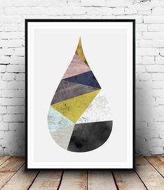 Drop print, watercolor art, abstract print, geometric art, triangles print, scandinavian art, nordic design, colorful print, minimalist art
