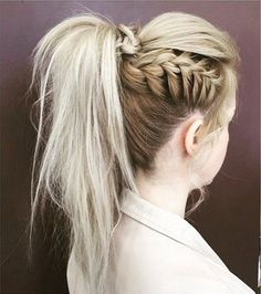 Textured, High Pony Tail Style with Side Braid