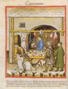 Combined presentation of a sheep slaughtering and a butcher shop. Health book, text from the century, illustrated forms from the century. Upper Italy around 1390 Medieval Market, Medieval World, Medieval Town, Health Book, Medieval Tapestry, Medieval Paintings, Classical Antiquity, Renaissance Era, Butcher Shop