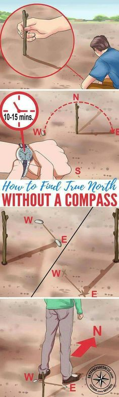 How to Find True North Without a Compass Basic survival skills are essential for anyone living off the grid whether its by choice or in a SHTF situation. In the event that you have to navigate without landmarks technology or even a compass you need Wilderness Survival, Camping Survival, Outdoor Survival, Survival Prepping, Emergency Preparedness, Survival Gear, Camping Hacks, Camping Ideas, Outdoor Camping