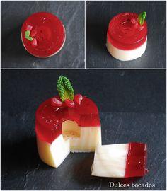 Dulces bocados: Panna cotta de vainilla con gelatina de frambuesa