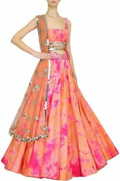Akanksha Gajria will make you sangeet-ready in this orange and pink tie and dye lehenga set. Wear this with temple jewellery for a feminine look. Half Saree Lehenga, Indian Lehenga, Sari, Anarkali, Lehenga Gown, Indian Attire, Indian Ethnic Wear, Indian Designer Outfits, Designer Dresses