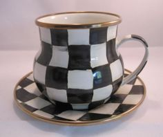 Mackenzie Childs Courtly Check Coffee Mug Cup and Saucer Enamel Set.  Don't you just love this design!