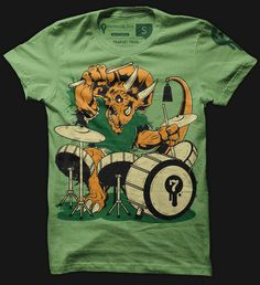 Jurassic rim shot! Keeping the beat for the Tyrannosaurus Rockstar, the Trap Set Trike has evolved over millions of years to rock your socks off.     View a video of the illustration process.    Tagless and printed on American Apparel. $24